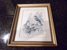 This is a signed print by Paul Whitney Hunter. It is in a gold frame and has been professionally matted. Vintage Art Prints, Blue Bird, Ship, Frame, Etsy, Picture Frame, Frames, Ships, Hoop