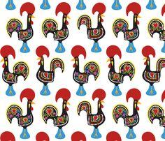 O Galo De Barcelos - fattcheese - Spoonflower - Fabric!!!!!!!!!!!!!!!! Tecido!!!!!!!!!!!
