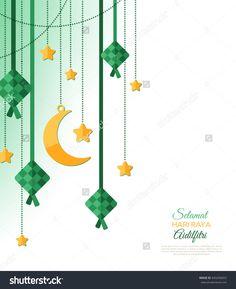 Selamat Hari Raya Aidilfitri greeting card. Vector illustration. Hanging ketupat and crescent with stars, garlands on white background. Caption: Fasting Day of Celebration