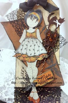 Thoughts from the Girls: Halloween Masquerade Ball and Some Halloween Candy Halloween Masquerade, Halloween Tags, Fall Halloween, Masquerade Ball, Prima Paper Dolls, Prima Doll Stamps, Scrapbook Paper Crafts, Scrapbook Cards, Fall Cards