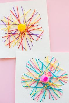 String art is preferred and also enjoyable. It is a great means to share your imagination. You can make many different forms with several colors. Spring Crafts For Kids, Diy Projects For Kids, Diy Crafts For Kids, Art For Kids, Art Floral, String Art Diy, Woolen Craft, Art Carte, Mother's Day Diy