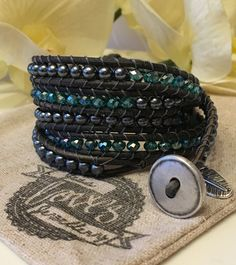 Fabulous sea green and gun metal grey five wrap bracelet. Handmade with love from jessslovesjewellery