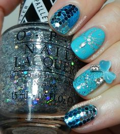 Light Blue Acrylic Nails Flame
