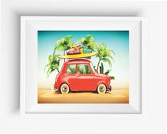 Funny car on a beach,digital experience,art print,wall art,Home decor,Jpeg,high resolution,300 dpi,instant download
