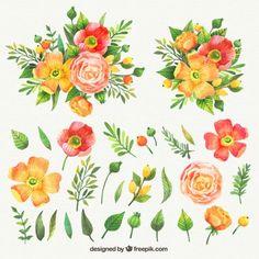 素敵な花の水彩画コレクション 無料ベクター