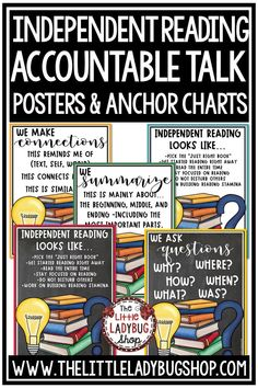 You will love these Accountable Talk & Independent Reading Posters for Higher Leveling Thinking! Increase Higher Level Thinking and Rigor in your classroom with these posters. Perfect for 3rd grade, 4th grade, 5th grade students #accountabletalk #independentreadingactivities