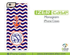Monogram Personalized iPhone 6/6S Case, iPhone 6/6S PLUS, iPhone 5/5S,  iPhone 5C, iPhone 4/4S Anchor Navy Blue