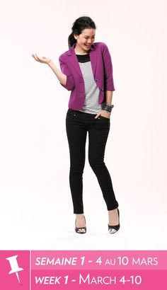 Black pants, striped shirt, fuchsia blazer and black flats Fashion 101, Fashion Brand, Fashion Outfits, Womens Fashion, Fashion Ideas, Leggings And Heels, Ankle Pants, Pretty Outfits, Cute Outfits