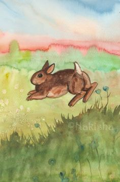 RESERVED for LS - Original Art - Rabbit Kit - Watercolor Rabbit Painting -The Badgers Forest Tarot