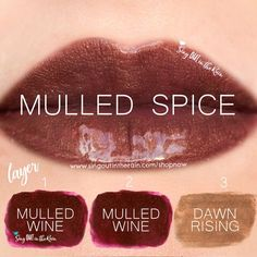 "Learn to mix it up. Use LipSense Mixology to create this ""Mulled Spice"" LipColor by layering Mulled Wine & Dawn Rising. . #lipsense #mixitup"