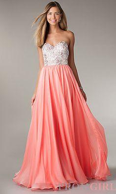 Long strapless evening dresses