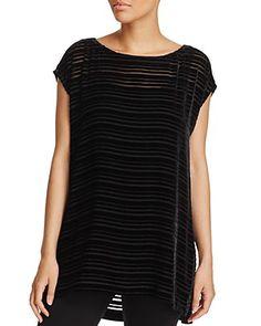Eileen Fisher Velvet Stripe Tunic Top