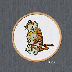 Cross Stitch Pattern Hugs Calvin and Hobbes Instant Download