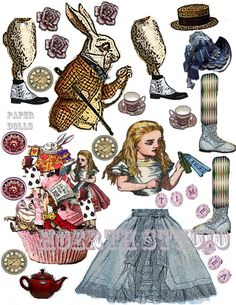Alice in Wonderland Paper doll collage sheet scrapbook ready for the perfect page Printable Paper creation DIY paper doll cut out is a
