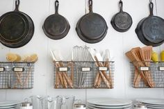 Kitchen organization. Love the baskets