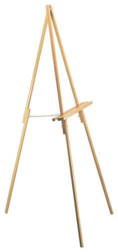 Wood Easel for Floor with Rubber Feet, Tripod Design - Oak