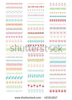 Collection of vector brushes. The dotted line and zigzag, traceries for decoration your work. Vintage floral borders.