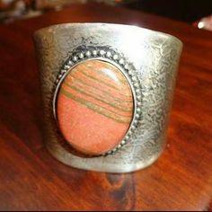 "Sterling & Genuine Jasper  Cuff Bracelet Sterling cuff bracelet with genuine Jasper stone in center. Front of cuff is 2 3/4"" Tall. Opening in th back is 1"" inch. Jewelry Bracelets"