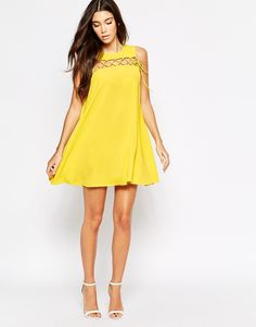 Image 4 ofLove Shift Dress With Lace Up Detail