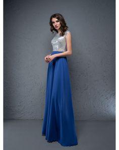 d3767694cf77 Modré dlhé spoločenské šaty. Luxusné spoločenské šaty NYCOLE