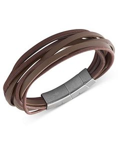 Fossil Men's Bracelet, Stainless Steel Brown Leather Multi-Strand Wrap Bracelet - Fashion Jewelry - Jewelry & Watches - Macy's