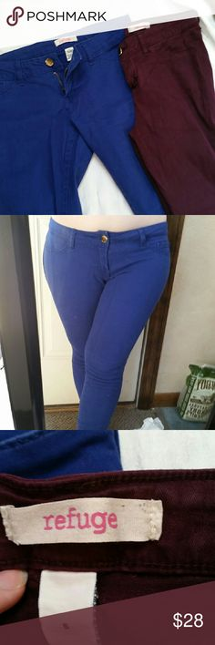 SALE Cobalt Super Skinny Jean Jegging Tight Pant These extremely skinny pants were too much for me,  so please take them and enjoy! Cobalt Blue. Pre worn with no damage. Fits like a 2-4. 28in inseam, 7-8 from crotch to top. Beautiful color that goes great with tons of tops, bundle with stripe lace back tee for a cool fall outfit and discount!! I also have these same ones listed in burgundy, check it out! refuge Pants Skinny