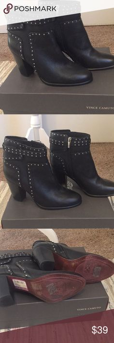 Brand new Vince Camuto studded black leather boots These are brand new and never worn.  Black leather with silver studs. Vince Camuto Shoes Ankle Boots & Booties