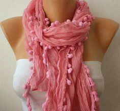 Pink Shawl / Scarf  Headband Necklace Cowl by fatwoman on Etsy, $13.50