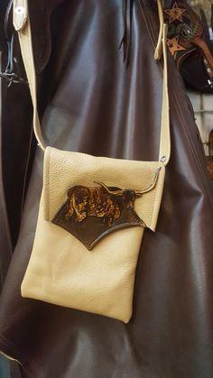 Leather longhorn cross body bag