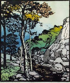 Where Careless Quiet Lies, 1924 by Frances Hammell Gearhart (b. 1869-1958), Californian artist (occasionally taught by Charles H. Woodbury) known for her colour woodcuts of the Sierras, the Pacific Coast, and the area around Big Bear Lake. She described sentinel trees, groves of eucalyptus, pines, oaks and Monterey cypress as well as valleys and canyons. http://www.francesgearhart.com/ Tags: Trees, Helen Elstone, Mountains, Canyon