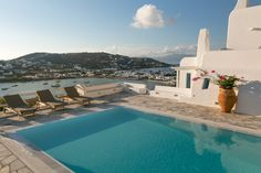 Presidential Villa in Mykonos. Santa Marina Resort & Villas with Private Pool in Mykonos. Marina Resort, Luxury Swimming Pools, Villa With Private Pool, Hotel Pool, Resort Villa, Beautiful Villas, Luxury Villa, Mykonos, Shades Of Blue