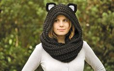 Cat Ear Scoodie, Black Cat Scarf with Hood, Crochet Black and White Animal Halloween Costume from WellRavelled on Etsy. Saved to Etsy Finds. Love Crochet, Knit Crochet, Crochet Hats, Crochet Scarves, Crochet Clothes, Scoodie, Hooded Scarf Pattern, Animal Halloween Costumes, Estilo Lolita