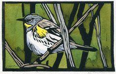 Linocut-AudubonsWarbler-©SherrieYork