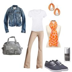 """This is what I wore to work today.  Our atmosphere is """"business casual.""""  I love the tangerine paired with the gray and the denim jacket goes well with the khaki pants.  I love my Keds!"""