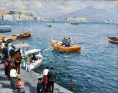 Pratella Attilio – 128: partecipa all'asta | VincentGalleria.it Naples Italy, Hobby, Gouache, Sailing, Boat, Landscape, Prints, Xmas, Italia