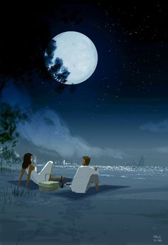 ⌨MIDNIGHT PICNIC by Pascal Campion⌨ #pascalcampion #paintings #artwork #beach #night