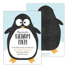 Penguin Party Birthday Party Invitation