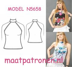 MAATPATRONEN TRICOT TOP STOFADVIES: midden of hoog rekbaar tricot stof.  MODEL N5658