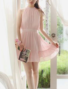 Women Gentlewomanly Style Pleated Ruffled Sleeveless Halter Dress - Item 697348 at Eastclothes.com