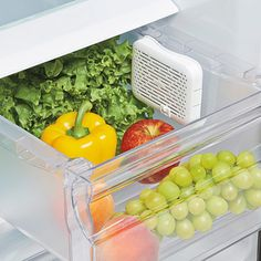 Stop throwing out produce! Our clever greensaver Crisper Insert by OXO will help you waste less and save more. It's designed be mounted to the wall of your crisper above your produce and uses all-natural, non-toxic activated carbon filters trap and absorb ethylene gas, slowing down spoilage. The open-vent design ensures maximum airflow and gas absorption.
