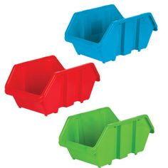 "Sturdy plastic bins in bright primary colors stack for the perfect storage solution! Roomy 7½x12½x5½"" bins are great for school, craft, and office supplies... and so much mor"