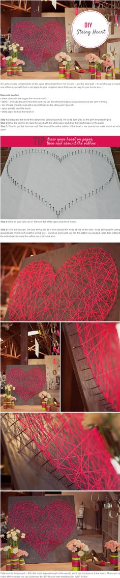 Red line wrapped around the heart.  It is easy to do!  !  Used and can stay at home as ornaments!