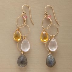 "HOOPLAH EARRINGS -- Drops of golden citrine, rose quartz and luminous labradorite sway and play with three slender hoops of 14kt goldfill wires. By Thoi Vo. USA. Exclusive. 2-1/4""L."