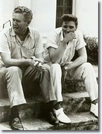 Elvis and Vernon after his mother's passing. Only pic I've seen where Elvis is crying..So sad!