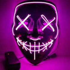 US LED Growing Mask The Purge Movie Illuminate Ghost Halloween Party Cosplay Set