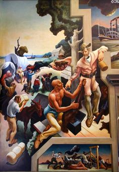 Pioneer settlers & traders on Social History of Missouri mural (1935) by Thomas Hart Benton at Missouri State Capitol.