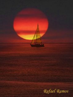 Sunset and Sail boat, Almeria, Andalucía, Spain