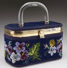 Vintage Needlepoint Lunchbox Style Purse by EvelynsEden on Etsy