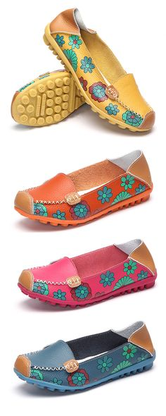 $15.92 Floral Print Color Matching Soft Comfortable Slip On Flat Shoes
