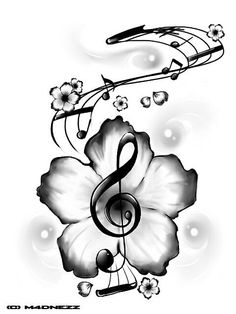 hibiscus treble clef love my tattoo treble clef tattoo cute tattoos ...
